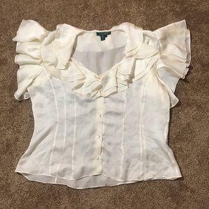 NEW Ralph Lauren silk cream ruffle top size 16